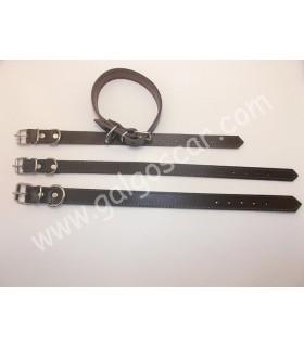Collar perro  cuero extrecho 20mm largo 45cm c/marron