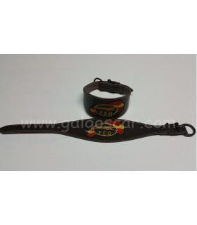 Collar galgo cuero ancho logo FEG. hebilla jerezana c/marron