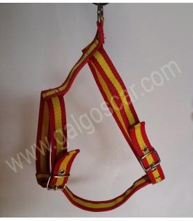 Arnés para galgo de nylon doble bandera de España