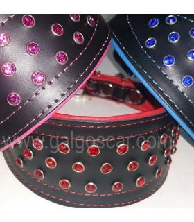 Collar galgo cuero cristales Neon. Varios colores