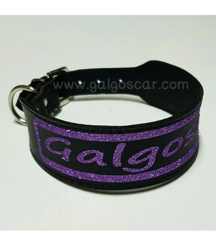 Collar perro negro  personalizado en diferentes medidas y colores, glitter o neón.  Para cualquier tipo de perro.