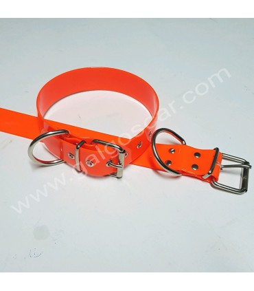 Collar  biothane 38mm. ancho y largo 45, 52, 60 y 70cm c/naranja