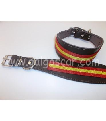 Collar galgo cuero ancho bandera españa c/marron