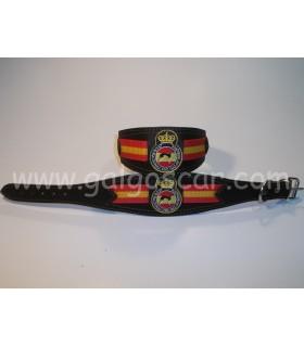 Collar galgo cuero ancho logo Galgo Español c/marron