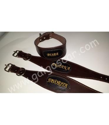 Collar galgo cuero ancho personalizado c/marron