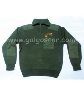 Jersey  caza caballero verde con cuello cremallera, bordado logo galgo y liebre