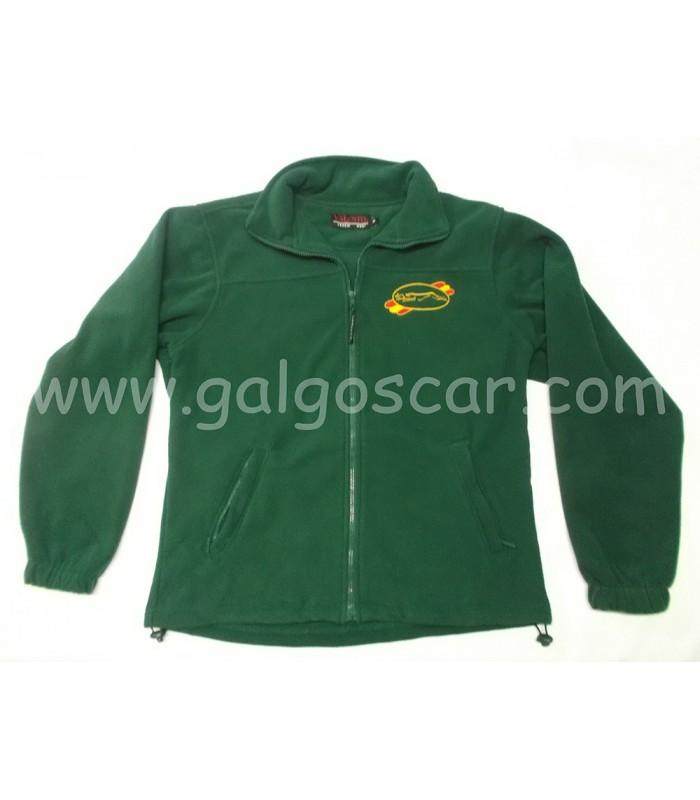 Chaqueta forro polar cremallera, niño y caballero, bordado logo galgo y liebre, verde.