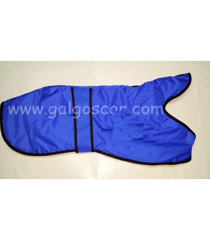Manta abrigo para galgo, impermeable, azul royal con rivetes negros. Talla L