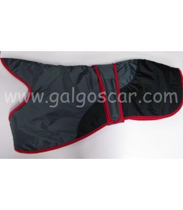 Manta abrigo para galgo, impermeable, gris con negro con ribetes rojos. Talla L