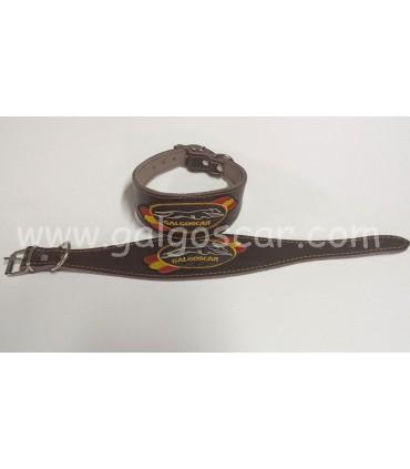 Collar galgo cuero ancho bordado  galgoscar