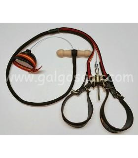 Trailla para galgo, doble giratoria, serraje engrasado, adorno nylon españa, galgoscar.