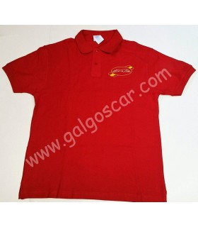 Polo caballero , bordado logo galgo, color rojo