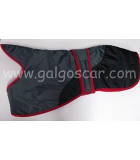 Manta abrigo para galgo, impermeable, gris con negro con ribetes rojos. Talla M