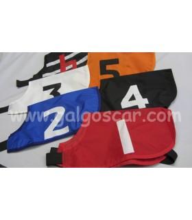 Set de 6 petos o dorsales para carreras de galgos ajustables, numerados del 1 al 6.