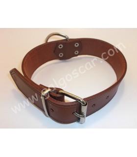 Collar  perro cuero razas grandes 4cm ancho y  largo 50cm c/marron engrasado