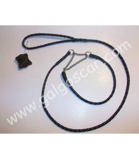 Juego ramal y collar cuero ahogue cadena, trenza redonda