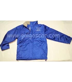 Parka chaquetón caballero azul royal, bordadoAmigos del galgo. Impermeable con forro abrigo interior.
