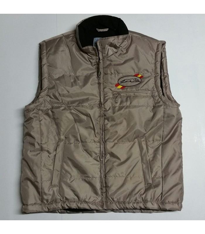 """Chaleco acolchado """"Montana"""", bordado logo galgo, con forro polar interior,  color kamel"""