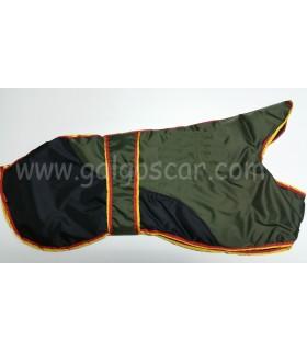 Manta abrigo para galgo, impermeable, verde/negro con  ribetes españa. Talla L