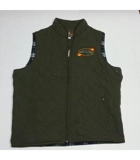 Chaleco rombos guata, bordado logo galgo, forro cuadros interior,  color verde caza