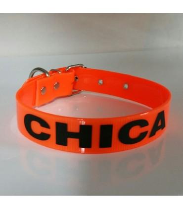 Collar  biothane grabado, naranja. 25mm y largo a elegir 38, 45 ó 52 cm