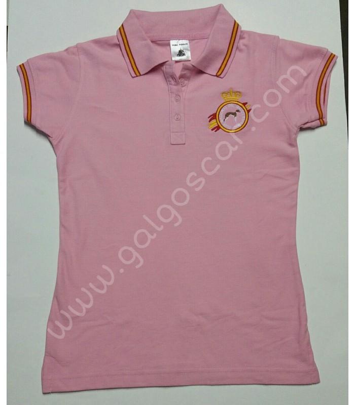 Polo SEÑORA, bordado logo galgo, color rosa con banderas de españa