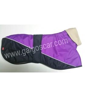 Manta abrigo para galgo cuello alto, impermeable, lila/negro con  ribetes españa. Talla L