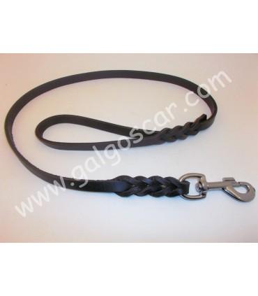 Ramal cuero engrasado trenza para un perro mosqueton gatillo 1metro ó 2 metros