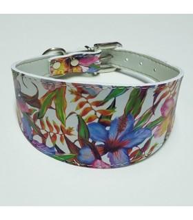 Collar Ecoleather  flores azul para galgo, whippet, piccolo,