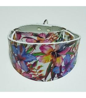 Collar antiescape Ecoleather  flores azul para galgo ó whippet,.
