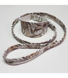Collar Ecoleather  flores marrón para galgo, whippet ó piccolo,